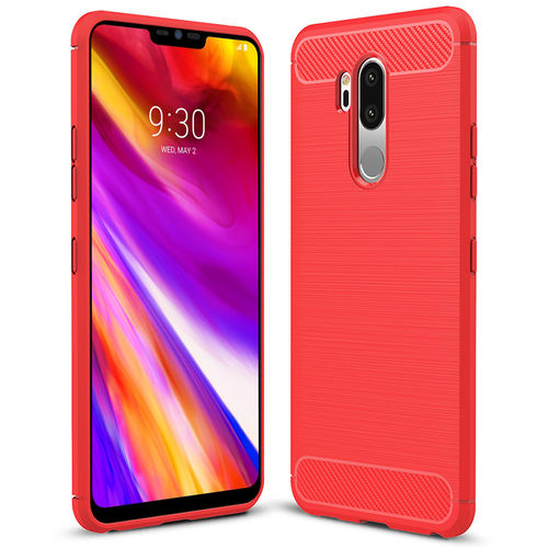 Flexi Carbon Fibre Tough Case for LG G7 ThinQ - Brushed Red